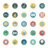 Travel Isolated Vector Icons Set Consist With Ship, Bag, Passport, Palm Tree, Train, Camera And Mountain