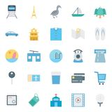 Travel Isolated Vector Icons Set Consist With train, tree, car, taxi, swimming, church and tag
