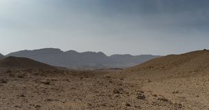 Travel in Israel negev desert landscape. Stone deserts hiking for health and mountain view Stock Images