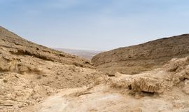 Travel in Israel negev desert landscape. Stone deserts hiking for health and mountain view Royalty Free Stock Image