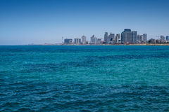 Travel Israel: Panoramic view of Tel-Aviv beach. Royalty Free Stock Images