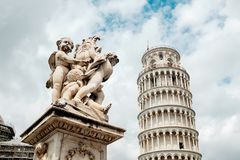 Travel in Italy. Architecture of Pisa. Leaning Tower of Pisa on a sky background. Italy Stock Photos