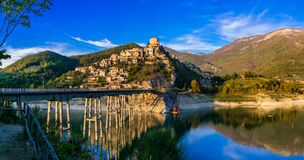 Travel in Italy - beautiful medieval village Castel di Tora and Stock Photography