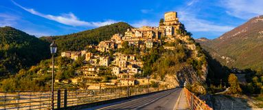Travel in Italy - beautiful medieval village Castel di Tora ,  T Stock Photography