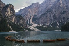 Lago Di Braies or Pragser Wildsee, Dolomites, Italy Royalty Free Stock Photos