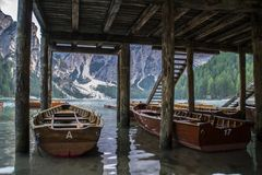 Lago Di Braies or Pragser Wildsee, Dolomites, Italy Stock Photography