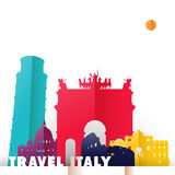 Travel Italy country paper cut world monuments. Travel Italy concept illustration in paper cut style, famous world landmarks of Italian country. Includes Pisa royalty free illustration