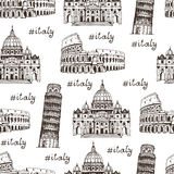 Travel Italy hand drawn background, seamless vector pattern Royalty Free Stock Photo