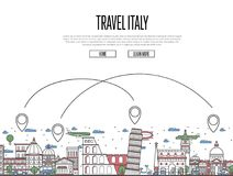 Travel Italy poster in linear style. Travel Italy poster with national architectural attractions and air route symbols in trendy linear style. Italian famous Stock Photography