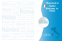 Travel Italy template vector with names of landmarks stock photography