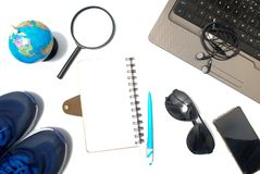 Travel item. From top view. Flat lay isolated with white background royalty free stock photo