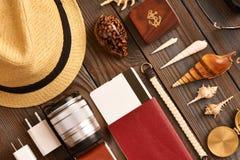 Travel items flat lay Royalty Free Stock Image