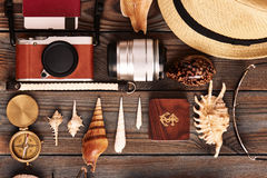 Travel items flat lay Royalty Free Stock Photography