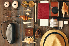 Travel items flat lay Royalty Free Stock Photos