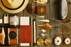 Travel items flat lay Stock Photography