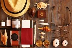 Travel items flat lay Stock Photos