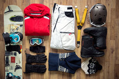 Travel items on the floor. For mountain trip Stock Photo