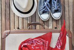 Travel items on terrace Royalty Free Stock Images