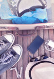 Travel items on terrace Royalty Free Stock Image