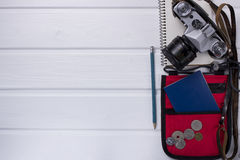 Travel items on wooden rustic table Stock Photography