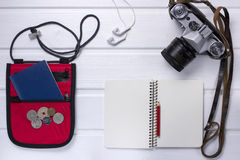 Travel items on wooden rustic table Royalty Free Stock Photography