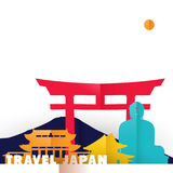 Travel Japan country paper cut world monuments Royalty Free Stock Photo