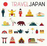 Travel Japan Icons Stock Photo