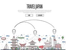 Travel Japan poster in linear style. Travel Japan poster with national architectural attractions and air route symbols in trendy linear style. Japanese famous Stock Photo