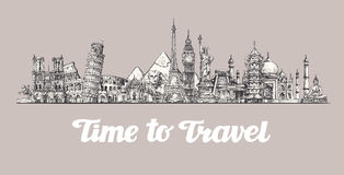 Travel, journey. Around the world, Sights of countries. Banner, vector illustration Royalty Free Stock Photography