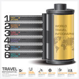 Travel And Journey Business Infographic With Continent Film Diag. Ram Concept Vector Design Template Royalty Free Stock Photography