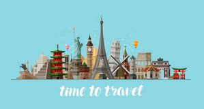 Travel, journey concept. Famous sights countries of world. Vector illustration. Travel, journey concept. Famous sights countries of world. Vector stock illustration