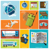 Travel And Journey Flat Icon Set Royalty Free Stock Photo