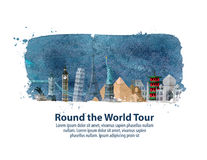 Travel, journey. historic buildings of the world. vector illustration Royalty Free Stock Photos