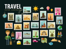 Travel, journey. Icons set. Postage stamps Royalty Free Stock Photography