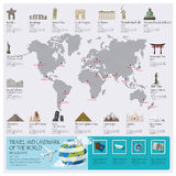 Travel And Journey Landmark Of The World Infographic Royalty Free Stock Photography