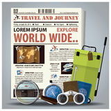 Travel And Journey Newspaper Lay Out With Magnifying Glass, Bino. Cular, Compass, Passport, Baggage Design Template Stock Images