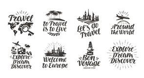 Travel, journey set icons. Handwritten lettering. Label vector illustration. Isolated on white background Stock Photos