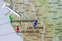 Travel journey to California San Francisco and Los Angeles conce. Pt- provided with toy airplane and push pin Royalty Free Stock Photography