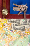 Travel journey trip consept, sights destination marked by pin on the map. Copy space Royalty Free Stock Photography