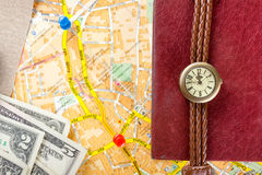 Travel journey trip consept, sights destination marked by pin on the map. Copy space Royalty Free Stock Photo
