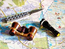 Things needed for the journey. Travel, journey, trip, vacation, holiday, weekend, object, map, plan, dream Royalty Free Stock Photography