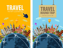 Travel, journey, trip vector logo design template Royalty Free Stock Images