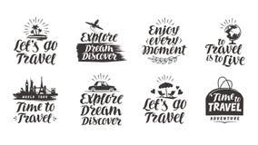 Travel, journey vector set labels. Handwritten lettering Royalty Free Stock Image