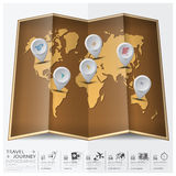 Travel And Journey World Map With Point Mark Continent Infograph Stock Photos