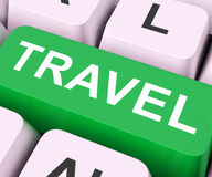 Travel Key Means Explore Or Journeys Stock Photos