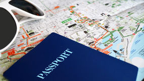 Travel kit template. Travek kit photo with sunglasses, map and passport stock photo