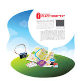 Travel Kits with Speech bubble. Travel elements & concept with speech bubble for text layout Stock Images