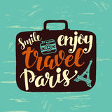Travel label with hand written lettering inscription in suitcase silhouettes Stock Photography