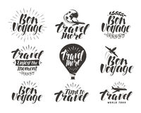 Travel, label set. Journey symbol or icon. Beautiful handwritten lettering vector illustration Stock Photo
