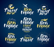 Travel, label set. Journey, vacation icons or symbols. Lettering, calligraphy vector illustration Royalty Free Stock Photography